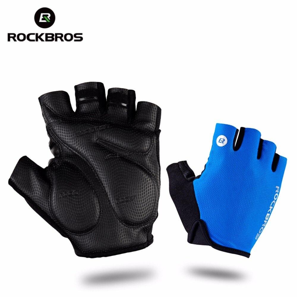 Buy leather bike gloves - Rockbros Cycling Gloves Half Finger Bike Gloves Sh