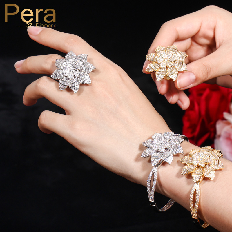 Pera Luxury Famous Brand Jewelry Sets Big Sun Flower Shape Full Sparkling Cubic Zirconia Bangles and Rings for Ladies Gift Z024Pera Luxury Famous Brand Jewelry Sets Big Sun Flower Shape Full Sparkling Cubic Zirconia Bangles and Rings for Ladies Gift Z024