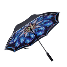 New Windproof Semi-automatic Straight Handle Reverse Umbrella Double Standing Seat Belt Fluorescent Strip Umbrellas For Women