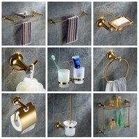 Кристалл Европейский Золотой Кристалл Аппаратных Ванной Кулон Набор Твердый Латунный Ванная Комната Аппаратный Комплекс