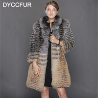DYCCFUR Women Warm Knitted Real Fox Fur Coat Female Brand Red Sliver Fox Fur Outerwear Jackets