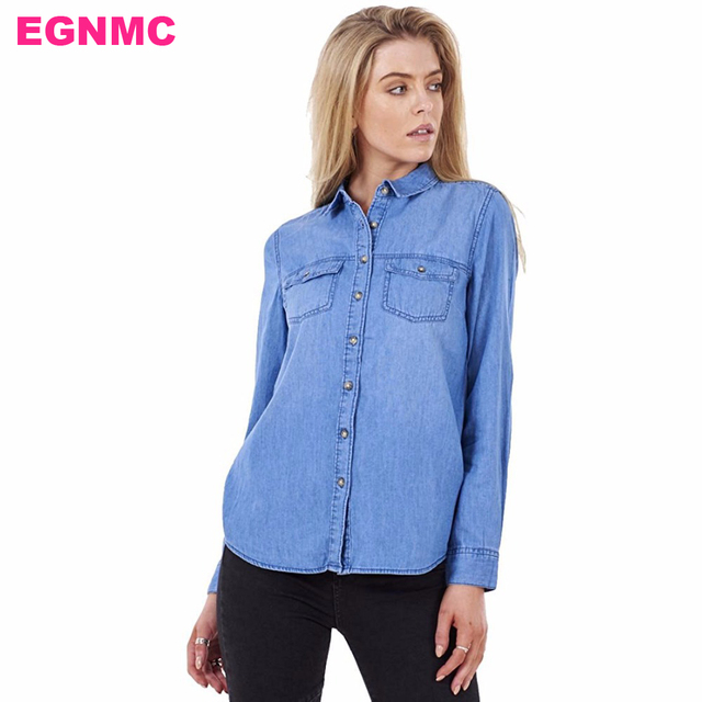 0ea232717c1 LIVA GIRL Blue Denim Shirt Ladies Casual Womens Button Up 100% Cotton Long  Sleeve Denim Shirts