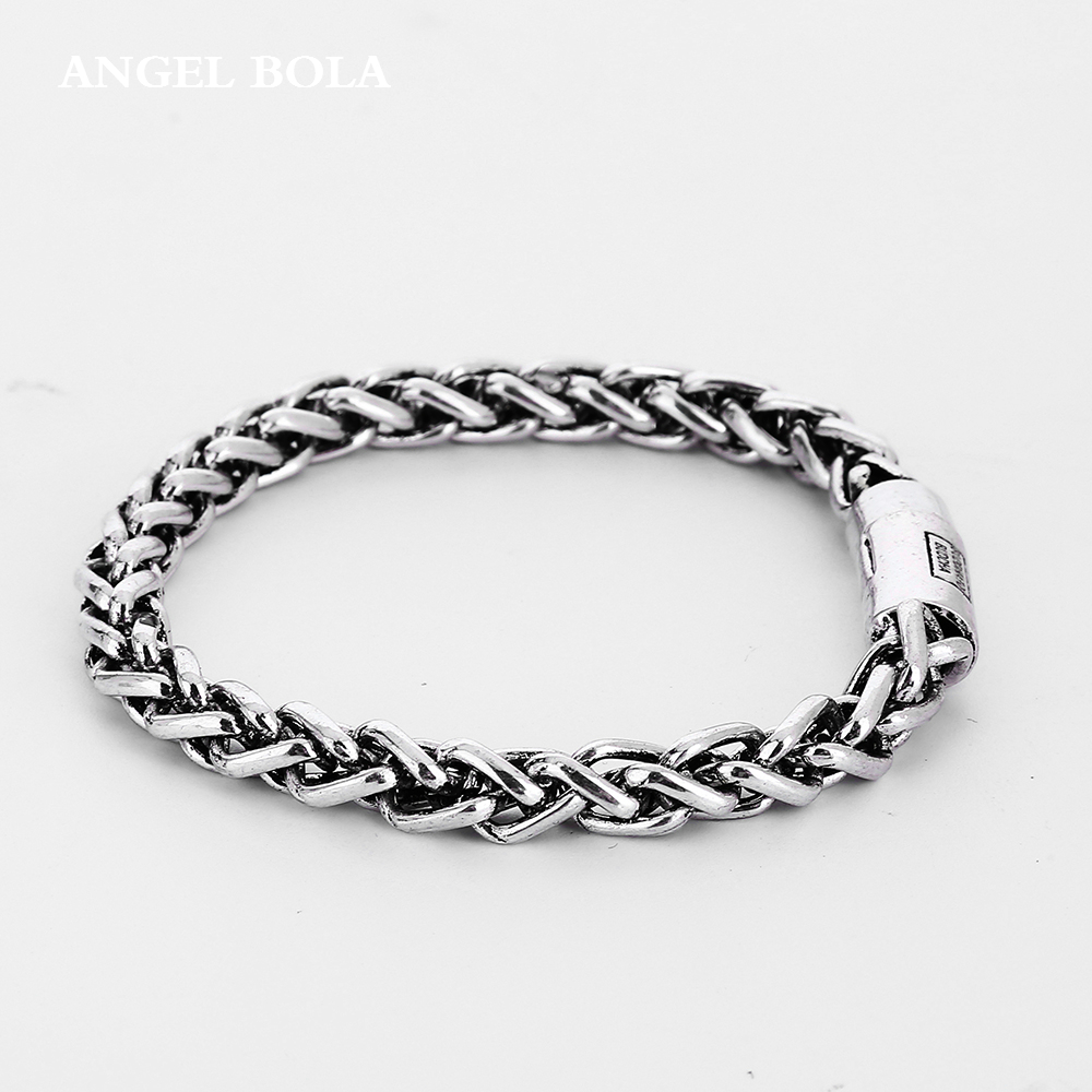 Cool Fashion High Quality Ancient Silver Buddha Bracelet Pop Punk Rock Style Round Chain Link Bangle To Women Jewelry B1207-3T