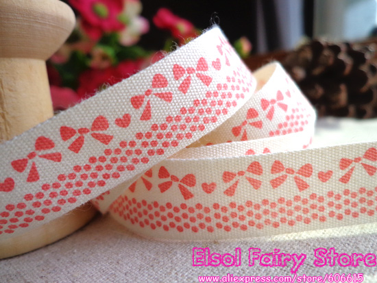 [Red color] Retro Zakka Cotton Ribbon, DIY sewing Ribbon Sewing tape Fabric Webbing 15mm x30m - Bow lace