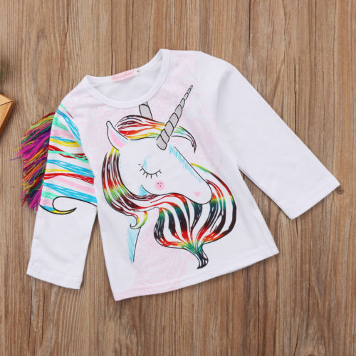 1-6T Unique Toddler Kids Girls Summer Casual O Neck Long Sleeve Unicorn Tops Cotton T-shirt Clothes 3