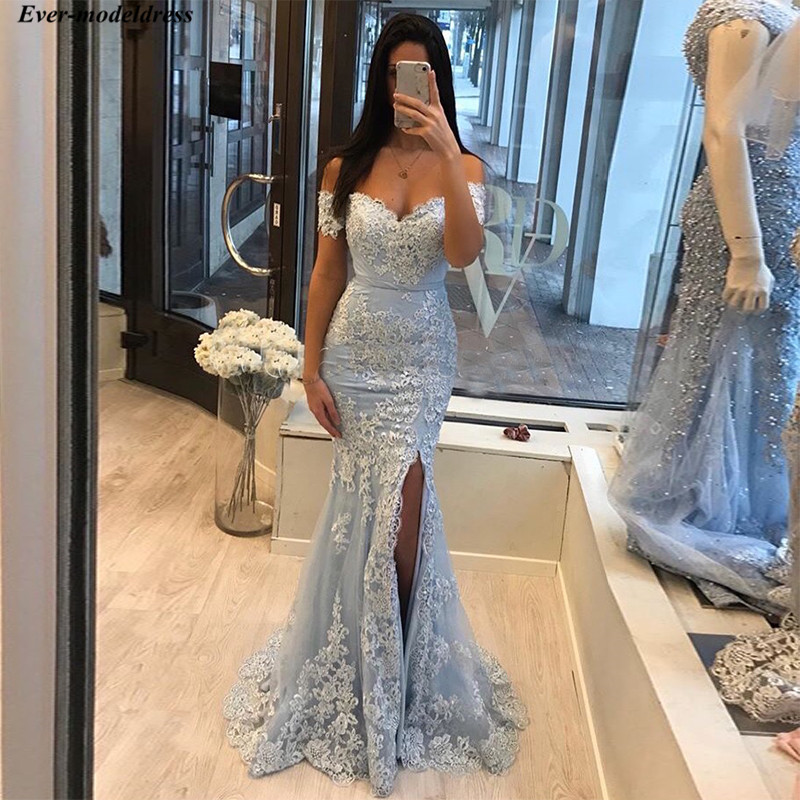 2019 Light Sky Blue Mermaid   Prom     Dresses   Lace Appliques Off The Shoulder Girls Graduation Party Gowns With Side Slit vestidos