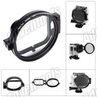 Gopro accesorios 58mm cpl circular polarizador filtro de la lente para gopro hero3 vivienda w/voltear converter-negro