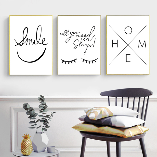 Black and White Smiley Eyes Home Pattern Canvas  3