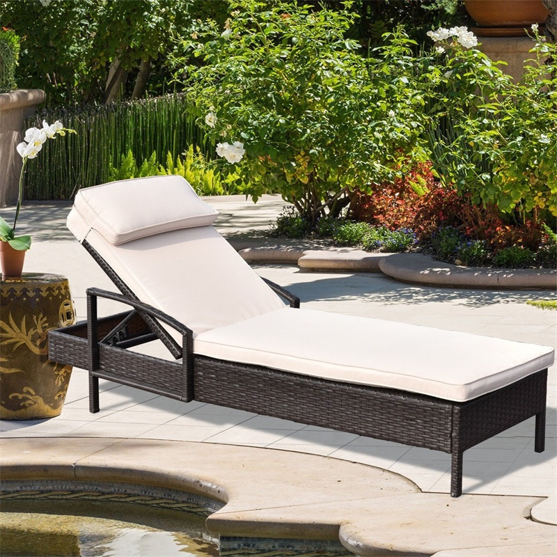 Outdoor Brown Wicker Rattan Sun Loungers Polyester Cloth Beach Lounger With A Headrest Pillow HW54463