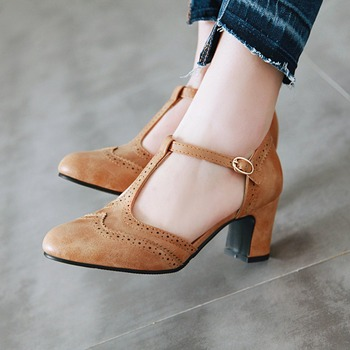 ZETMTC women's shoes 2019 high heels spring Mary Jane low heel buckle round head brown black large size34 46 - discount item  40% OFF Women's Shoes
