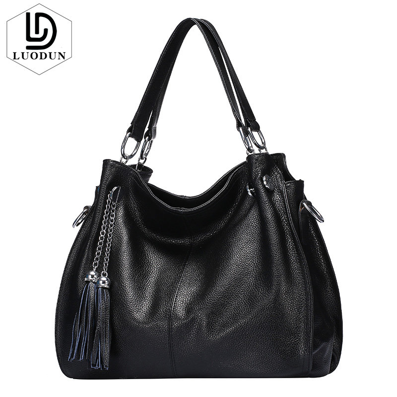 цены на LUODUN High Quality spring&summer new cowhide handbag leisure tassel split Leather bag shoulder Messenger Large capacitity bag в интернет-магазинах