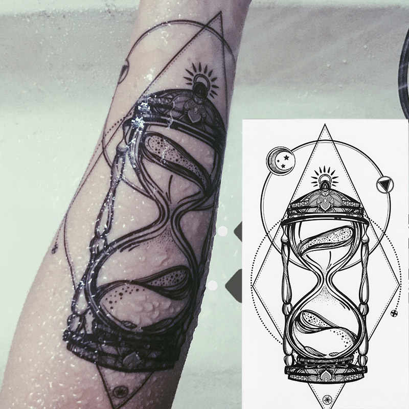 1pcs Time hourglass arms BlacBlack White Large Flower Henna Temporary Tattoo Black Mehndi Style Waterproof Tattoo Sticker