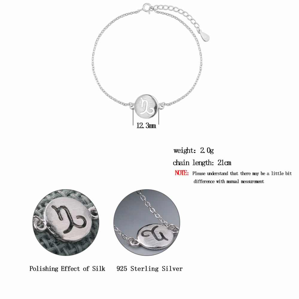 Kinitial 925 Sterling Silver Star Sign Bracelet Constellation Zodiac Signs Bracelets For Women 12 Constellation Bangle Jewelry