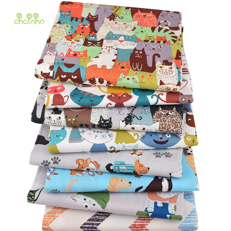 Chainho,8pcs/lot,Cartoon Animal Series,Printed Twill Cotton Fabric,Patchwork Cloth,DIY Sewing Quilting Material ForBabyΧldren