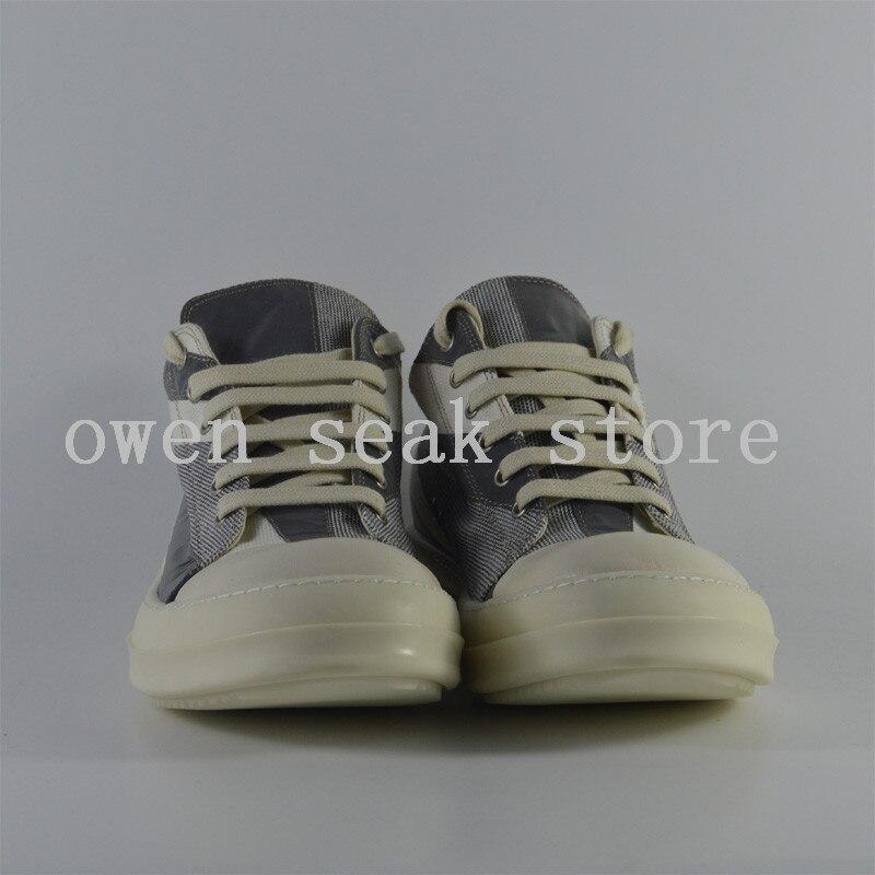 أوين سيك جديد وصول الرجال حذاء قماش عارضة الدانتيل يصل الفاخرة المدربين حذاء رياضة العلامة التجارية الشقق الصيف منخفضة المضاء أحذية كبيرة الحجم-في أحذية رجالية غير رسمية من أحذية على  مجموعة 2