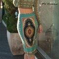 2016 verano otoño vintage fashion impreso lápiz falda de midi de las mujeres de la rodilla-longitud elástica de cintura alta de las señoras patrón faldas faldas