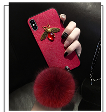 Luxury Fashion Diamond Brand Bee Glitter Soft TPU Cases For iPhone 6 7 8 plus X XR XS Max With Fluffy Ball and Chain Girls