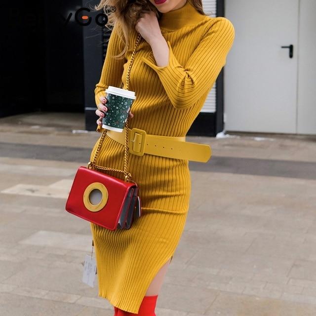 BerryGo Elegant yellow long sweater knitted dress women Sash bodycon autumn winter dress 2018 Casual stretch ladies dress festa