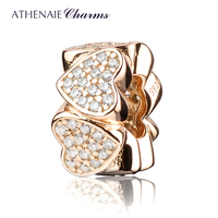 ATHENAIE Genuine925 Silver with Pave Clear CZ Heart to Heart Spacer Silver Charm Beads Color Rose Gold Gift for Valentine's Day