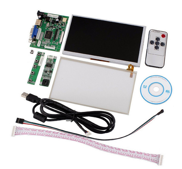 Tontec 7 Raspberry Pi LCD Touch Screen Display TFT Monitor AT070TN90 With Touchscreen Kit HDMI VGA Input Driver Board