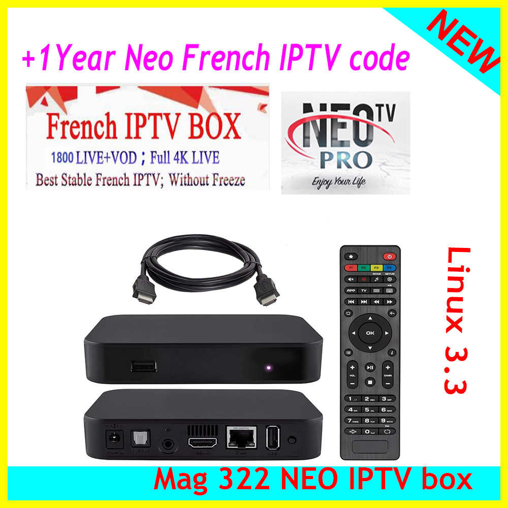 2019 New arrival MAG 322 IPTV Box Cable Linux 3 3 TV Receiver with 1800  Channels Neo pro IPTV Subscription arabic europe french