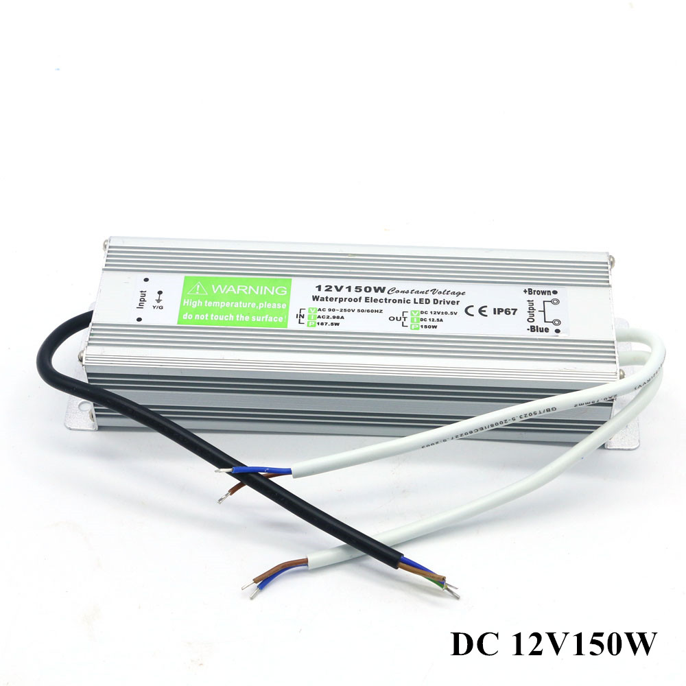 Waterproof IP67 DC 12V LED Power Supply Transformer AC 90-250V DC 12V 150W 12.5A Adapter for Outdoor Garden Strip Lights Driver waterproof switch 12v led strip light driver transformer ip67 ce water pump ac dc 110v 220v 12v 12 5a 150w power supply outdoor
