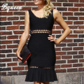 Bqueen 2017 hot negro elegante sirena fishtail hollow out vendaje dress