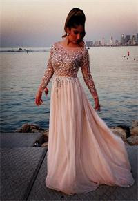Real-Gorgeous-Crystal-Beaded-Prom-Dresses-Sheer-Scoop-Neck-Long-Sleeves-A-line-Floor-length-Chiffon