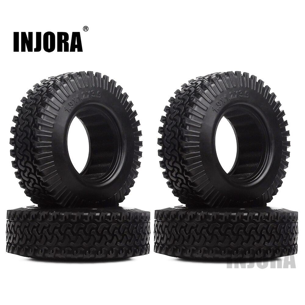 INJORA 4PCS 98MM 1.9 Rubber Wheel Tires For 1:10 RC Rock Crawler Axial SCX10 D90 TF2 Tamiya CC01 1.9 Inch Tyres