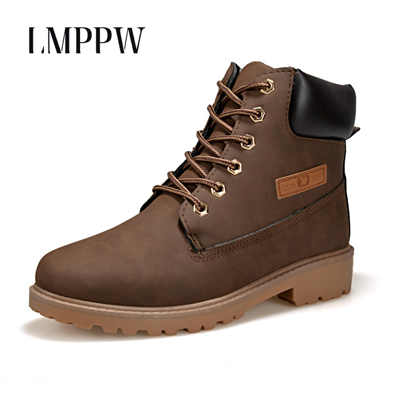 British Fashion Winter Warm Snow Boots Men PU Leather Leisure High Help Shoes Men Lace-up Ankle Boots Outdoor Snow Boots 2A bullock men s winter warm cashmere men martin boots help british retro style boots shoes for men high leather shoes breathable