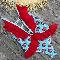 2018 Sexy One Piece Swimsuit Women Swimwear Print Monokini Swim Suit Ruffle Bodysuit Bathing Suit Backless Beach Wear Female 4