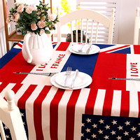 Thicker canvas cotton table cloth Continental British American flag Eiffel Tower table cloth