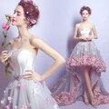 2016 цветы пром платья короткие передний долго назад вечерние платья серый органзы fashion party вечерние платья выпускные