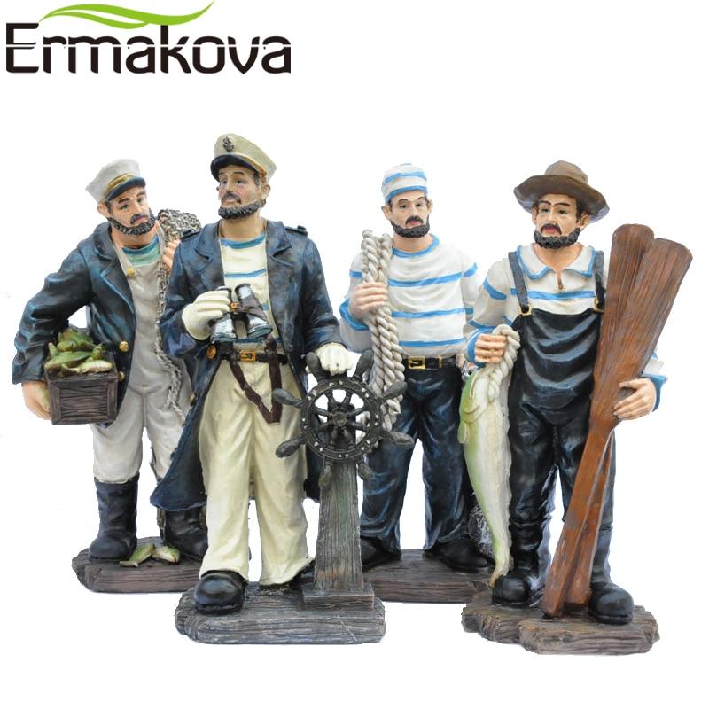 "ERMAKOVA 1 Pc 34cm (13.3 "") Resin Sailor Figurine Kapiten Fisherine Statuja Detare ekuipazhit Detare Akuariumi Terrarium Mesdheut"