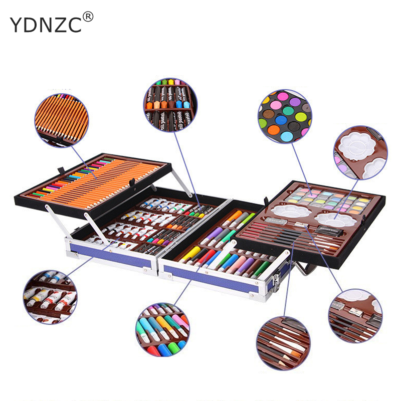 208Pcs/set Portable Travel Solid Pigment Watercolor Oil paint Set With Sketch Colored pencil Marker Pen Painting Art Supplies208Pcs/set Portable Travel Solid Pigment Watercolor Oil paint Set With Sketch Colored pencil Marker Pen Painting Art Supplies