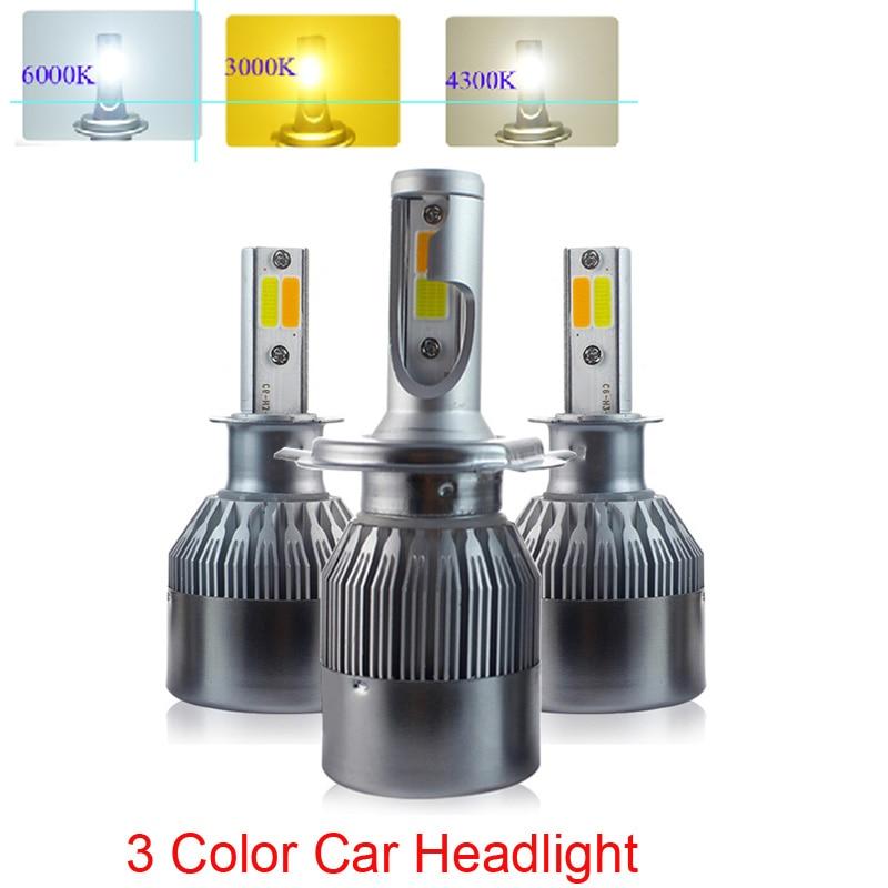 Автомобильные светодиодные лампы H4 H7 H1, 3 цвета, 72 Вт, 6000 лм/пара, 4300 К, Белый/3000 К, теплый белый/к, желтые Автомобильные светодиодные фары