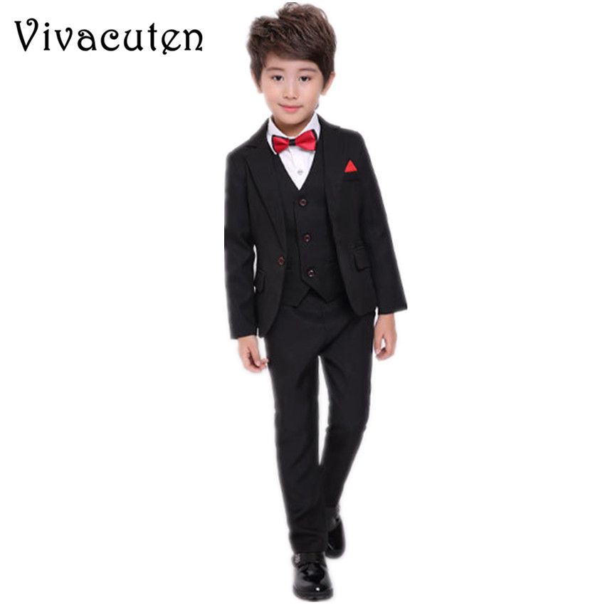 Boys Formal Suit Blazer Vest Shirt Pants 4pcs Wedding Birthday Party Dress Kids Tuxedo Children Prom Performance Costume F026 boy blazer suit 2018 boys 3pcs plaid formal wedding suit vest coat pant brand children party tuxedos performance wear for boys