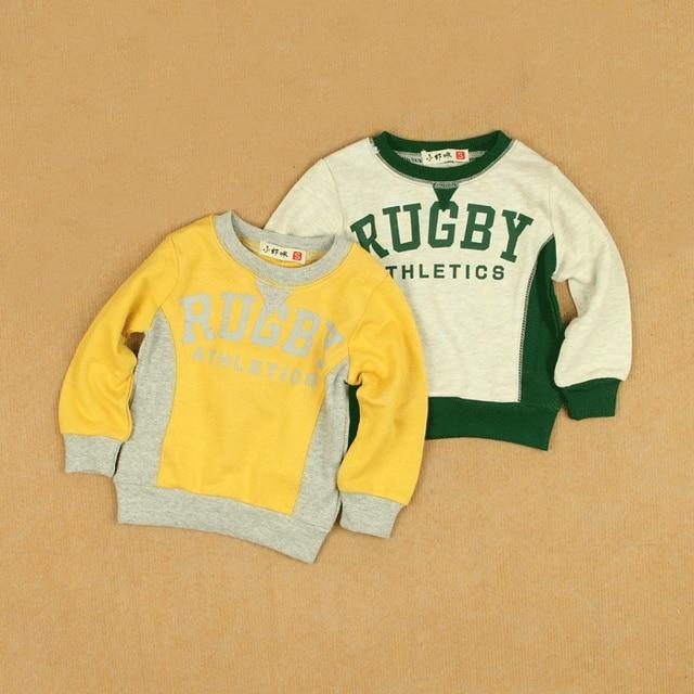 Vintage sportswear baby boy long-sleeve T-shirt pullover sweatshirt infant boy male child loop pile 100% cotton casual shirt