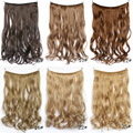 """Women Invisible Fish Line Hair Extension Long Flip In Natural Curly Synthetic Hair 18"""" 80g Hairpieces Heat Resistant Fake Hair"""