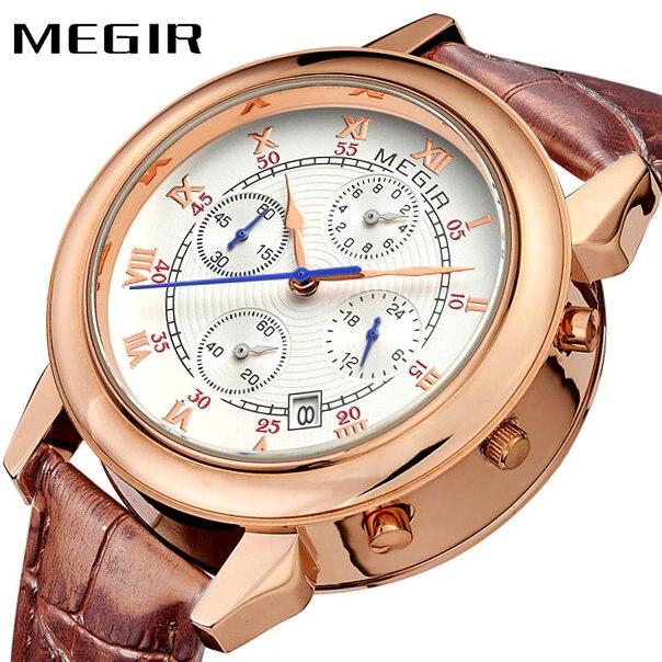 MEGIR Fashion Luxury Men Quartz Wrist Watch Top Brand 3D Double Sided Dial Roman Number Genuine Leather Band Multifunction Watch