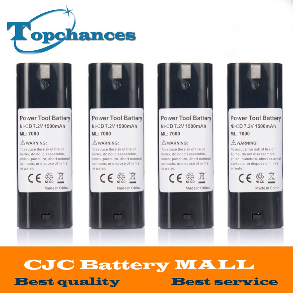 4PCS 7.2V 1500mAh NI-CD Power Tool Battery For MAKITA 7033 7002 7000 632003-2 191679-9 192532-2 Cordless Drill tool Battery for bosch 24v 3000mah power tool battery ni cd 52324b baccs24v gbh 24v gbh24vf gcm24v gkg24v gks24v gli24v gmc24v gsa24v gsa24ve