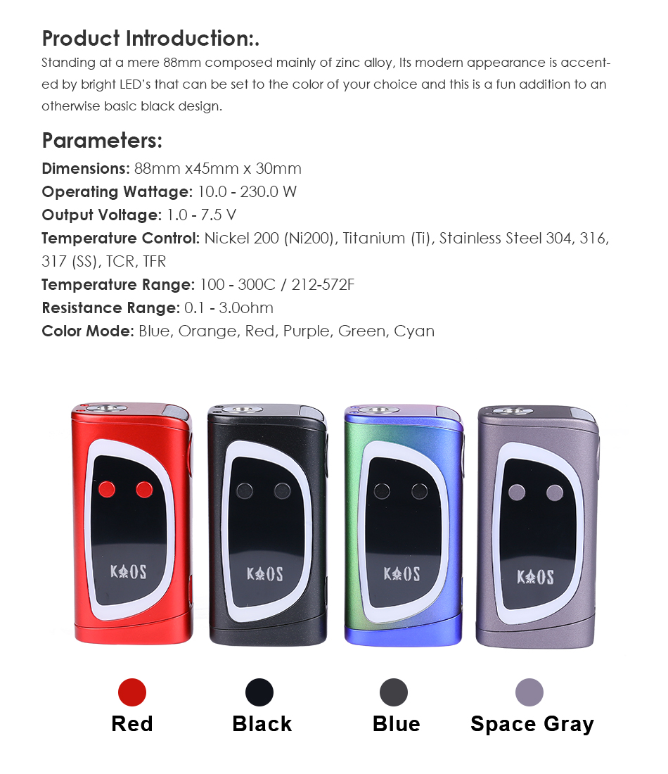 US $75 0  Original Sigelei Kaos Spectrum 230W Box Mod electronic cigarette  VS Fuchai 213 plus box mod vape vaporizer-in Electronic Cigarette Mods from