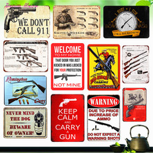 Vintage Gun Warning Plaque Beware of The Owner Metal Tin Signs Shabby Chic Wall Art Poster Coffee Bar Pub Club Home Decor WY18