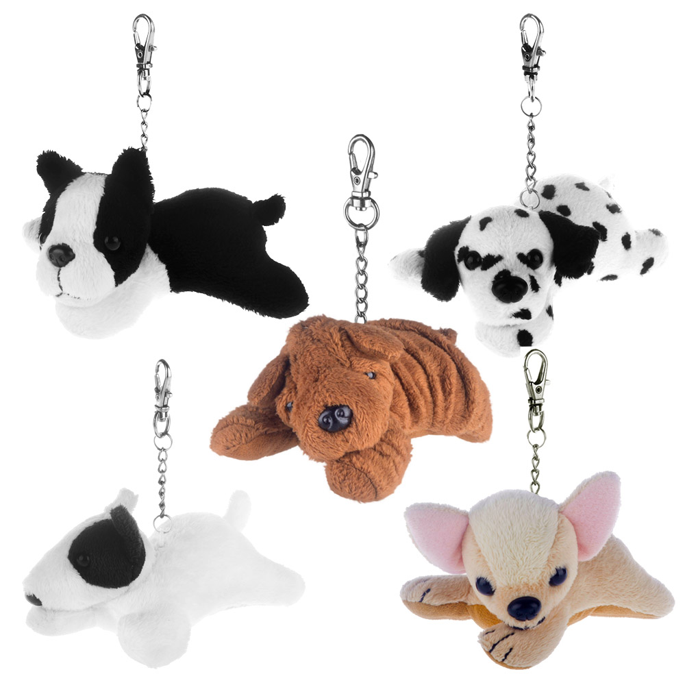 10cm Length Keychain <font><b>Plush</b></font> <font><b>Toy</b></font> High Quality Boston Bull Terrier Chihuahua Dalmatian Sharpei Dogs Metal <font><b>Key</b></font> <font><b>Chain</b></font> Pendant for Bag image