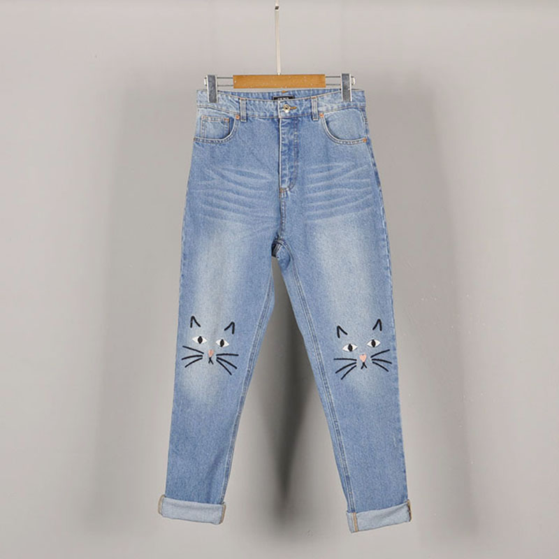 Europe Simple Cat Face Cuffs Embroidery Light Blue Stretch Jeans For Women Loose Ankle-Length Jeans Plus Size L-5XL A385