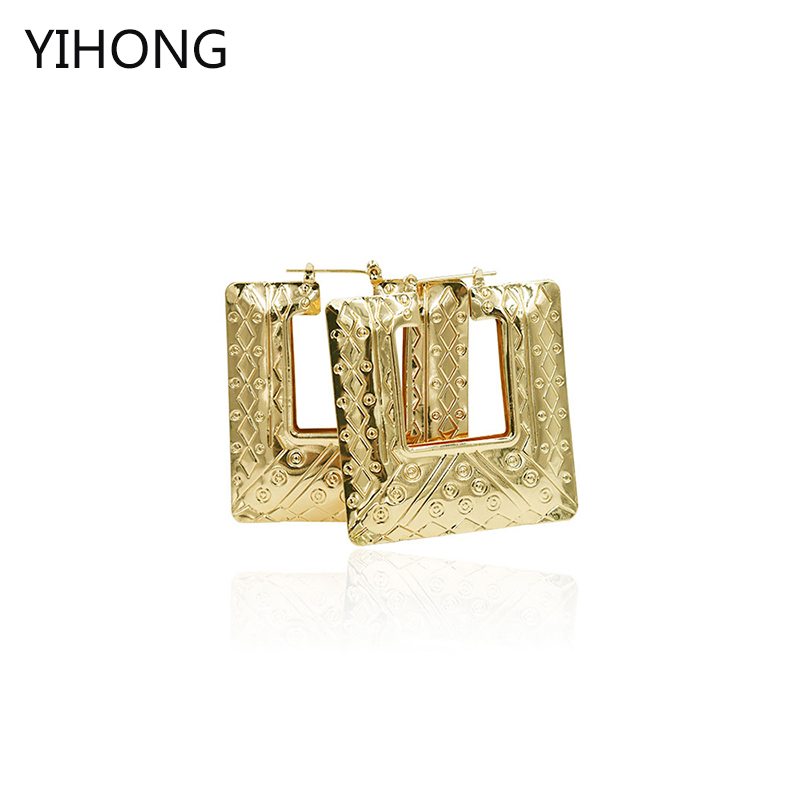 Square Hoop Earrings Gold Plate Fashion Jewelry for Women Basketball Wives Earring Wholesale Jewelry for women Accessories