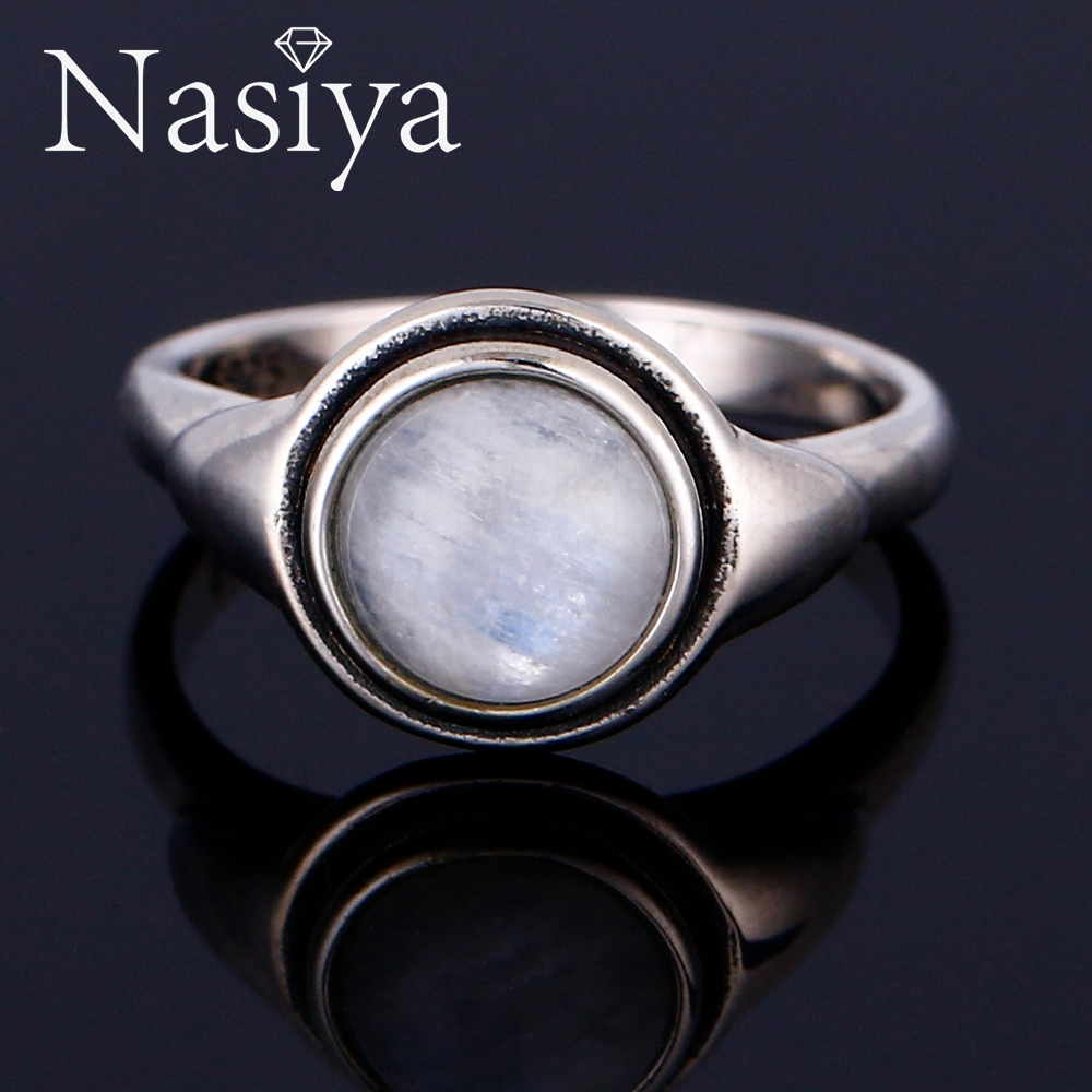 Nasiya Luxury Vintage Moonstone Rings Solid Silver Jewelry Gemstones Rings For Women Anniversary Wholesale  Dropshipping