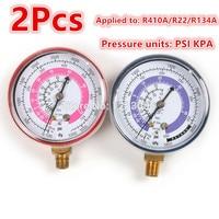1 Para Rot Blau Klimaanlage Prüfarmatur Hohe/Niederdruck R410A R134A R22 Kältemittel Manometer PSI KPA Druck Gauge
