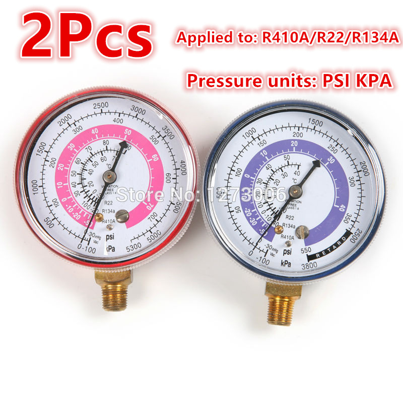Professional 1 Pair Air Conditioning R410A R134A R22 Refrigerant High / Low Pressure Gauge PSI KPA Red Blue Pressure Gauge 2pcs air conditioning r134a valve core quick remover installer high low pressure tool