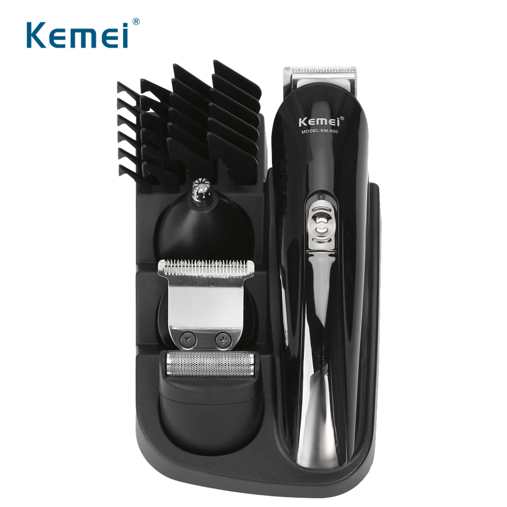Kemei KM-500 8In1 Hair Trimmer Rechargeable Hair Clipper Electric Shaver Beard Trimmer Men Styling Tools Shaving Machine Cutting professional electric hair clipper razor child baby men electric shaver hair trimmer cutting machine haircut barber tool hot3637